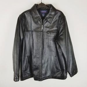 Class Club leather jacket bomber black coat large